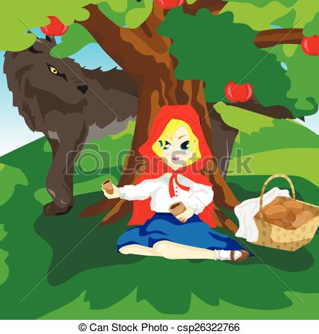 Clipart of a wolf against a tree clipart black and white Clip Art Vector of Little Red Hood and gray wolf - Girl sitting ... clipart black and white