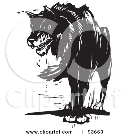 Clipart of a wolf against a tree clip transparent download Royalty-Free (RF) Clipart Illustration of a Black And White Wolf ... clip transparent download