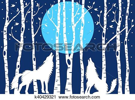 Clipart of a wolf against a tree freeuse download Clipart of Howling wolf with birch trees, vector k40429321 ... freeuse download