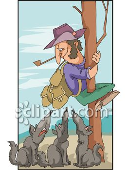 Clipart of a wolf against a tree image royalty free stock Royalty Free Clip Art Image: Scared Hiker Climbing Up a Tree to ... image royalty free stock