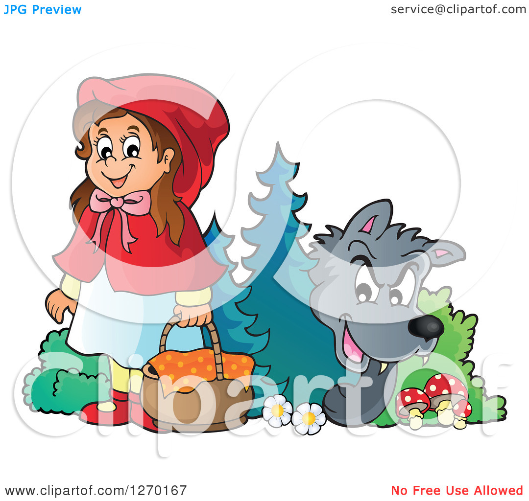 Clipart of a wolf against a tree banner download Clipart of a Big Bad Wolf Watching Little Red Riding Hood from ... banner download