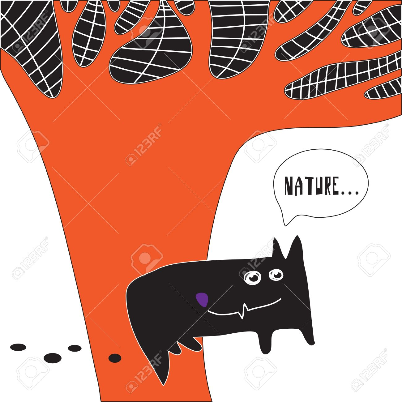 Clipart of a wolf against a tree picture free stock Abstract Image Silhouette Drawing Wolf Against The Tree Royalty ... picture free stock