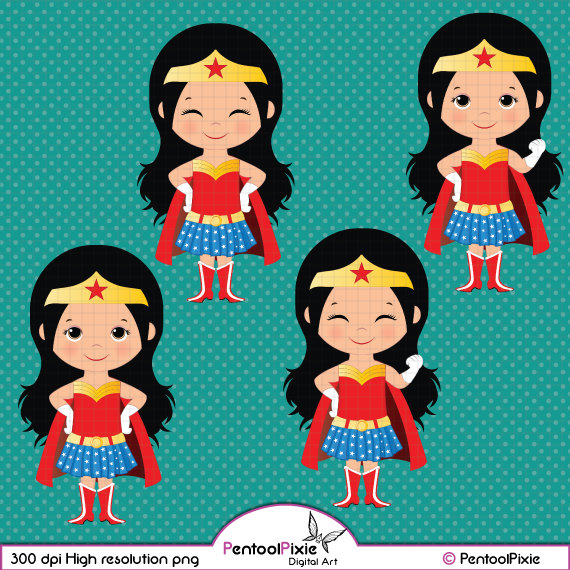 Clipart of a woman and a girl image transparent Wonder Woman Cute Clipart - Clipart Kid image transparent