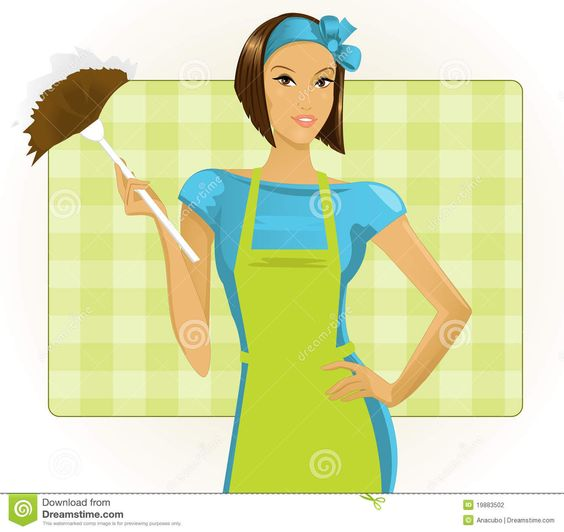 Cleaning clip art fotografia. Clipart of a woman and a girl
