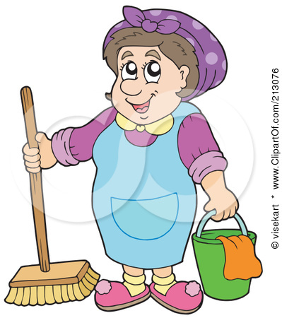 Clipart of a woman on a broom vector transparent stock Royalty-Free (RF) Clipart Illustration of a Friendly Cleaning Lady ... vector transparent stock