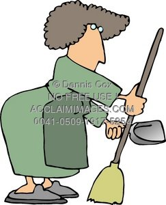 Clipart of a woman on a broom transparent library Clipart Illustration of a Woman Janitor - Acclaim Stock Photography transparent library
