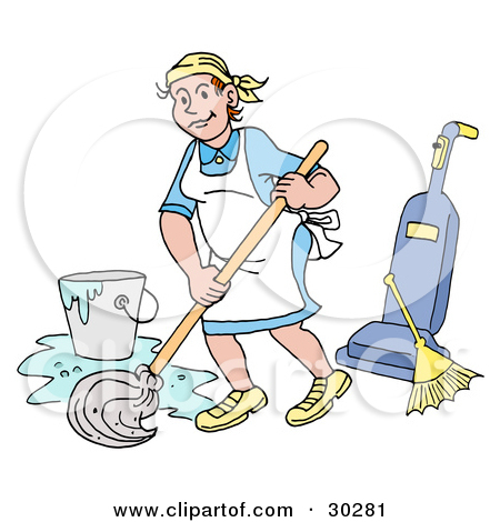 Clipart of a woman on a broom picture black and white Clipart of a Cartoon Relaxed Black or Hispanic Male Janitor ... picture black and white