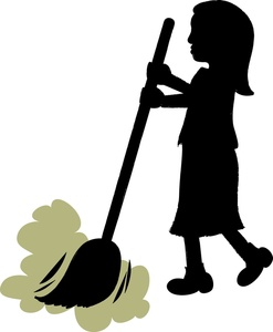 Clipart of a woman on a broom clip art transparent Sweeping Clipart Image - Girl or woman sweeping the floor with a broom clip art transparent