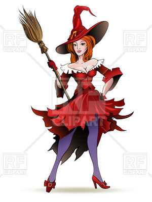 Clipart of a woman on a broom image black and white Standing pretty witch in hat with broom - woman disguised as a hag ... image black and white