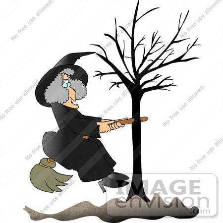 Clipart of a woman on a broom picture download Witch Woman With Her Broom Stick Stuck in a Bare Tree Clipart ... picture download