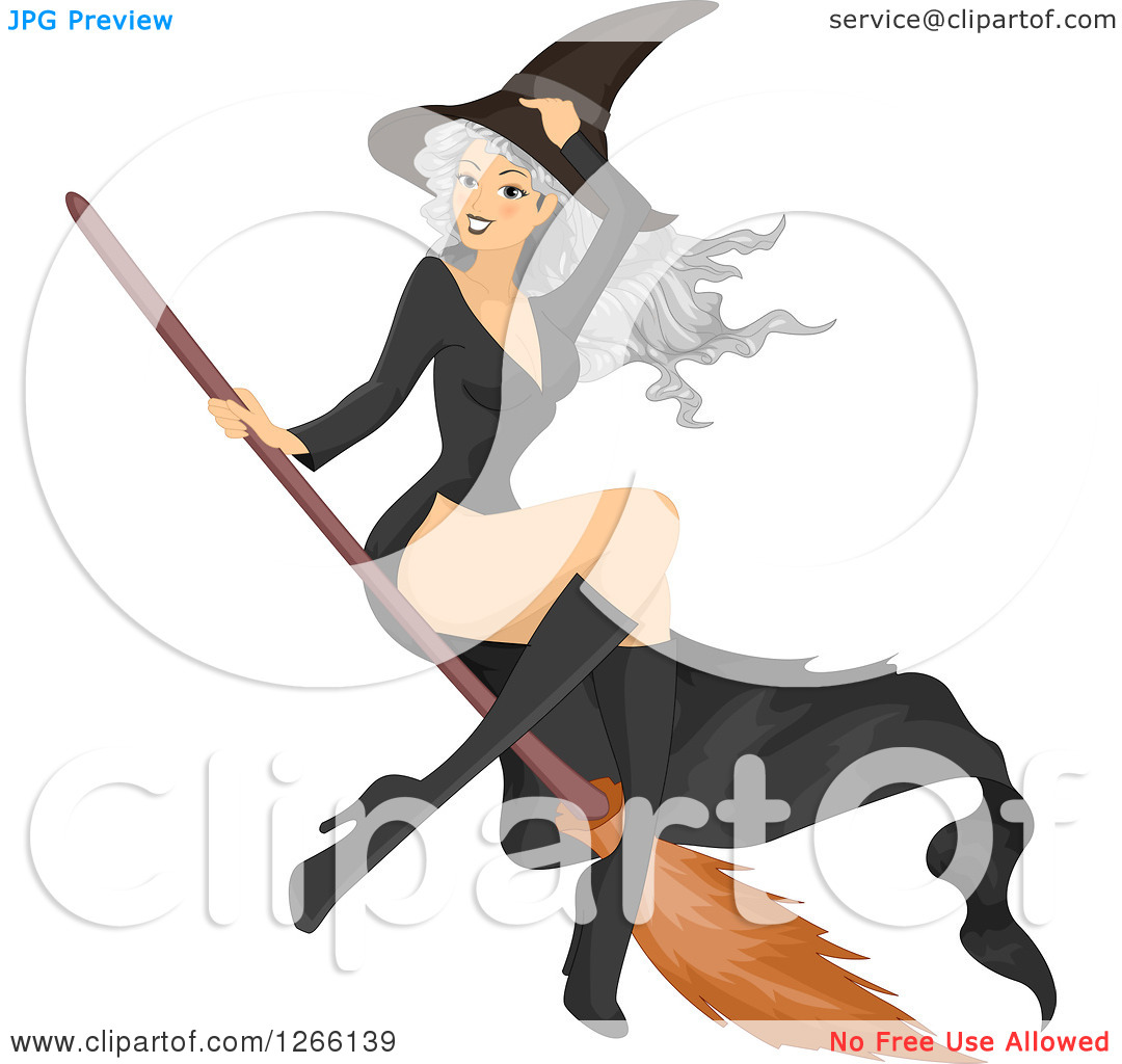 Clipart of a woman on a broom svg free library Clipart of a Gray Haired White Witch Woman Flying on a Broomstick ... svg free library