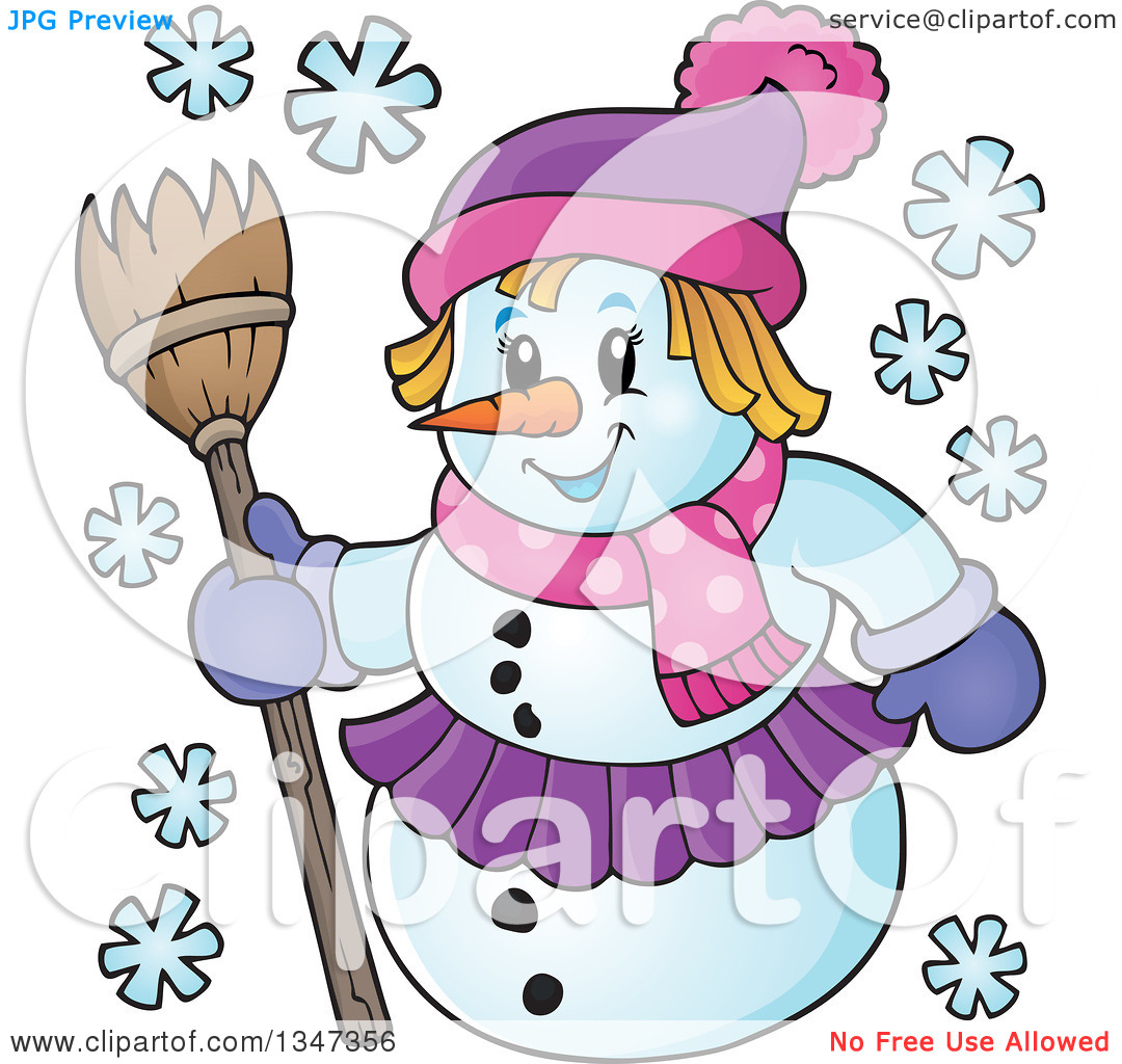 Clipart of a woman on a broom jpg transparent library Clipart of a Cartoon Christmas Snow Woman Holding a Broom ... jpg transparent library