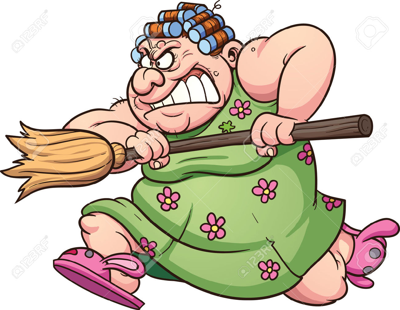 Clipart of a woman on a broom graphic library library Fat Woman Running With A Broom Clip Art Illustration With Simple ... graphic library library