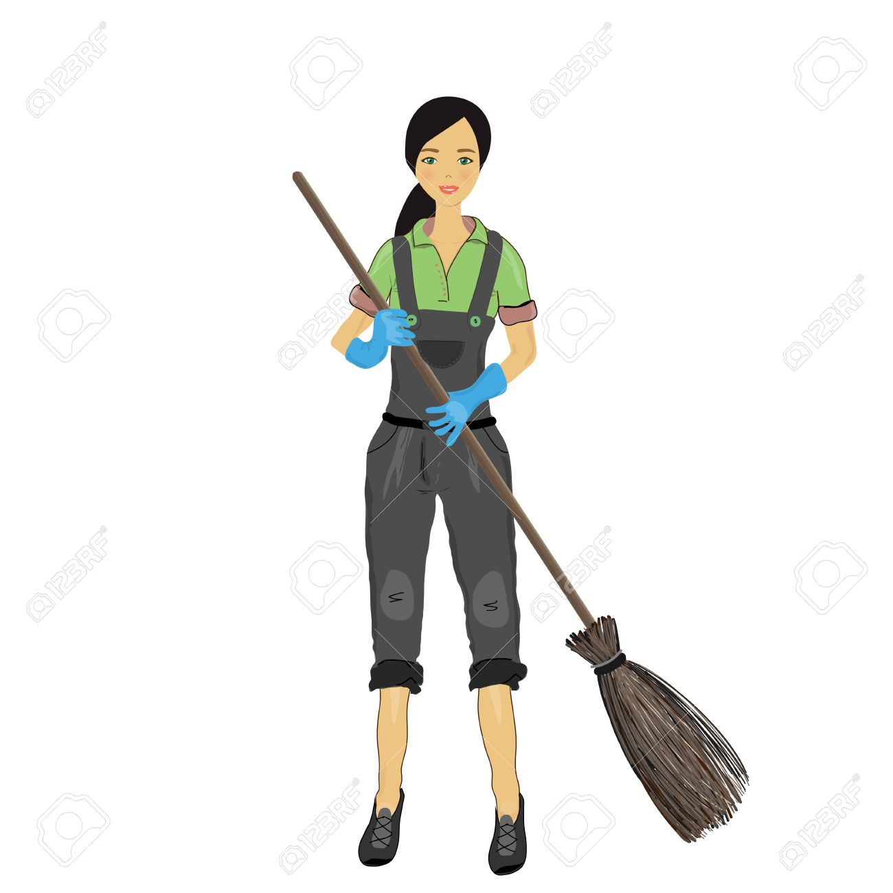 Clipart of a woman on a broom vector library library Clipart of a woman on a broom - ClipartFox vector library library