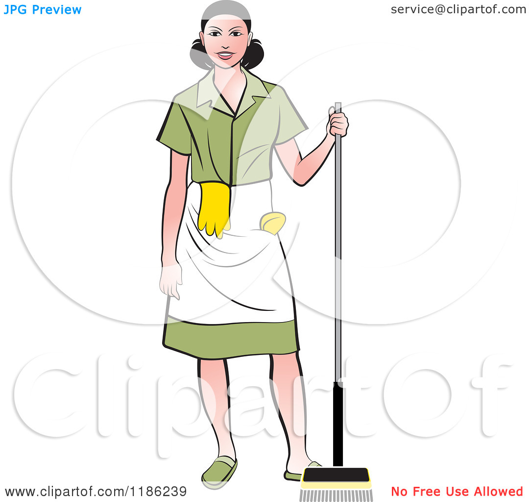 Clipart of a woman on a broom banner library Clipart of a Janitorial Woman with a Broom - Royalty Free Vector ... banner library