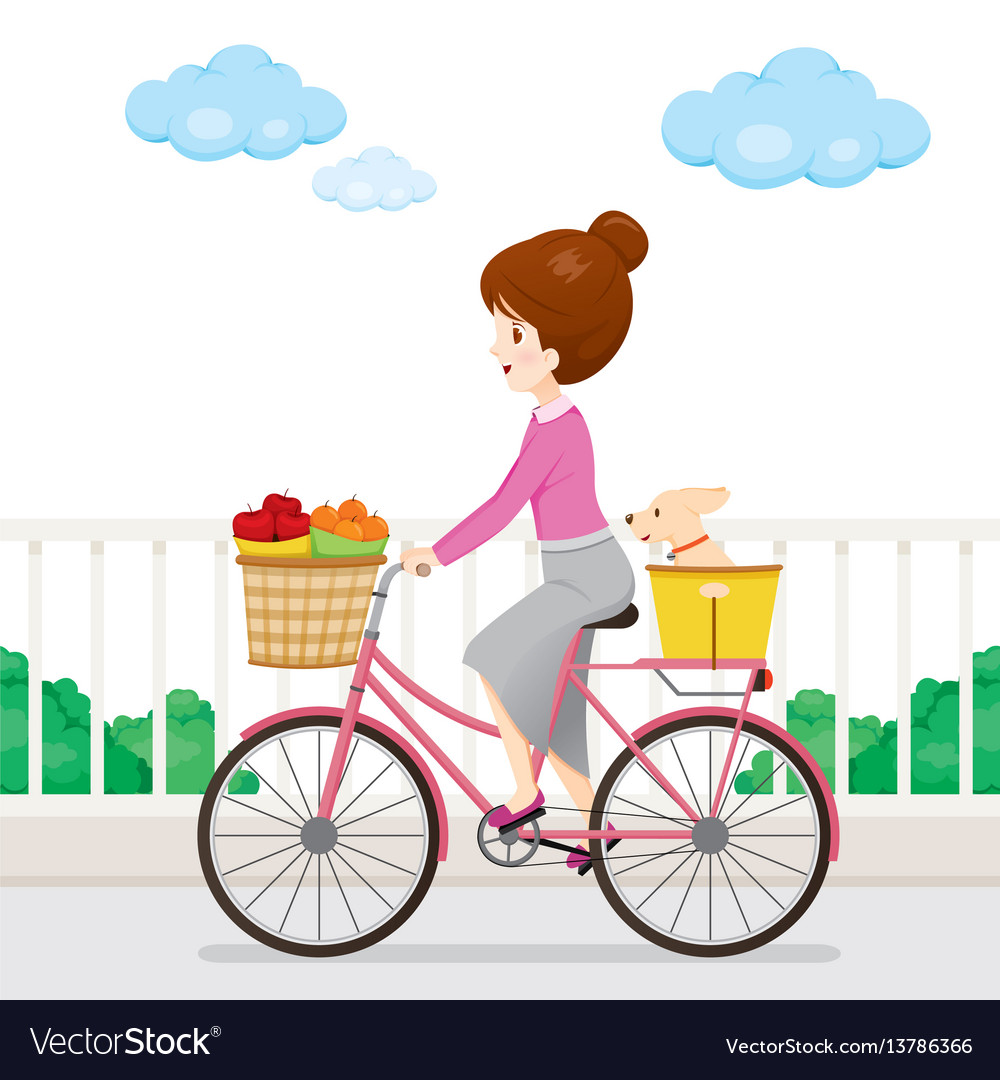 Clipart of a young girl riding a bike png black and white download Young woman riding bicycle with fruits and dog png black and white download