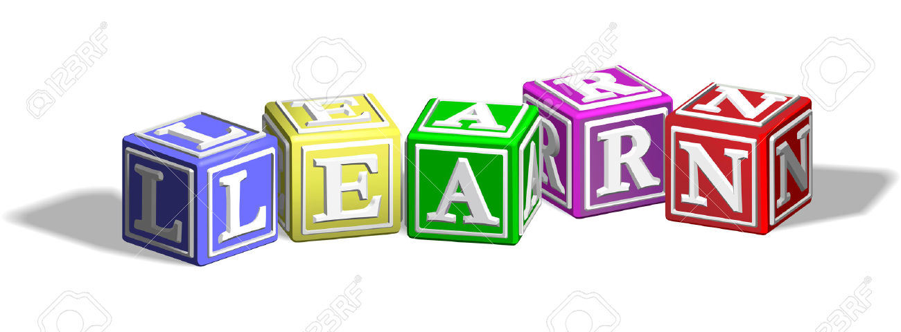 Forming the word learn. Clipart of alphabet letter blocks