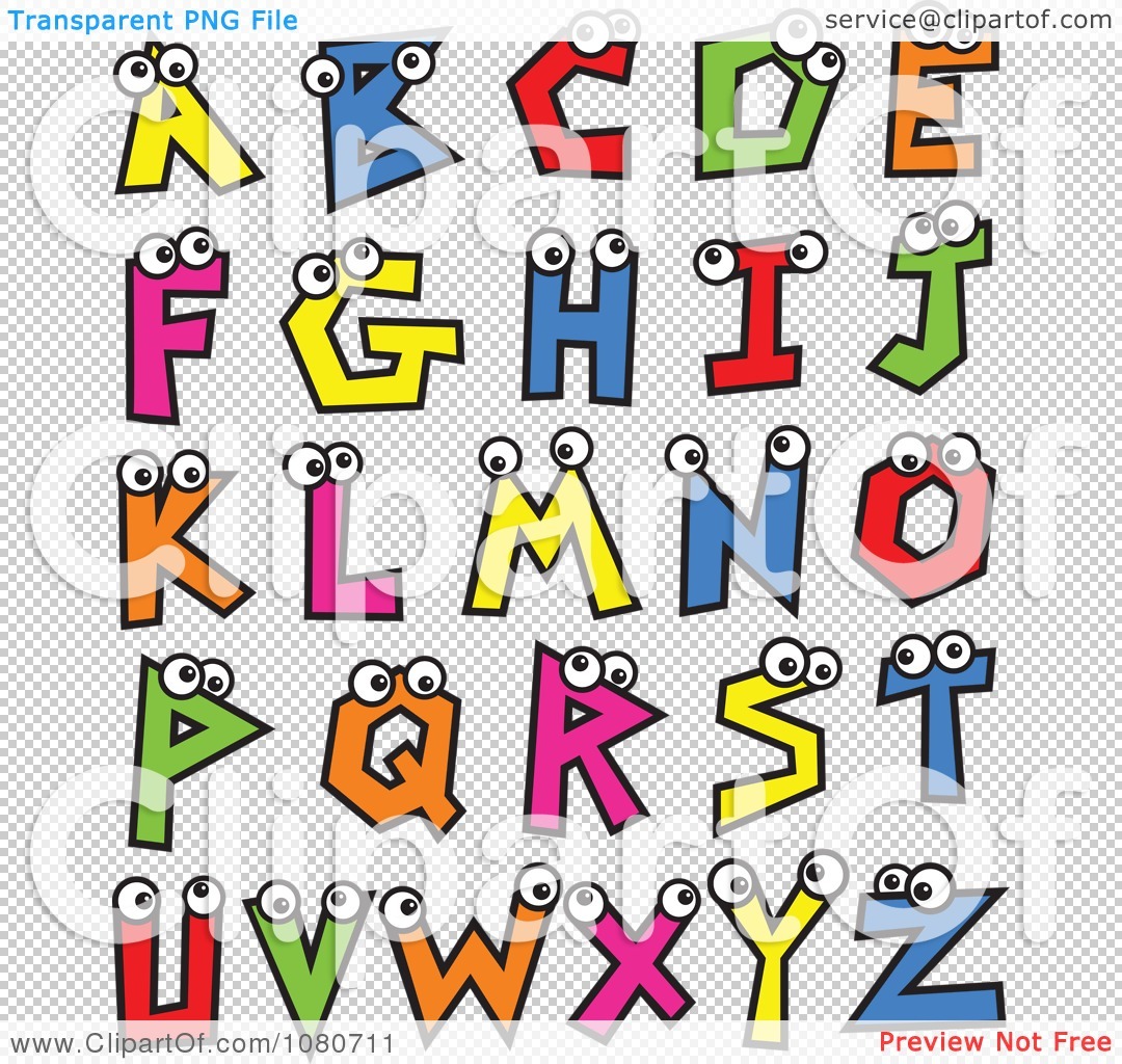 Clipart of alphabet letters. Colorful with eyes royalty