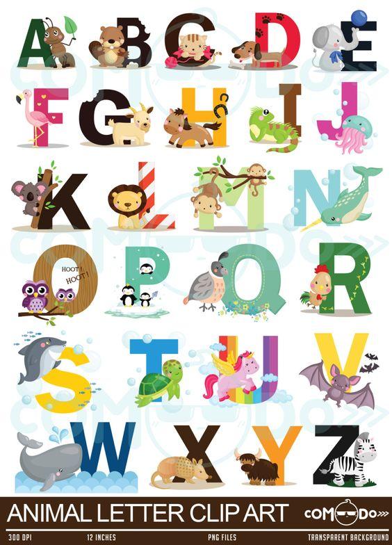 Animal digital clip art. Clipart of alphabet letters