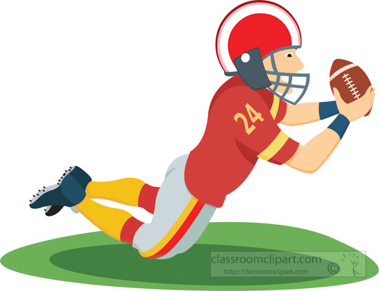 Wide recieer player clipart free png freeuse download Wide receiver football player player diving to catch with ball ... png freeuse download
