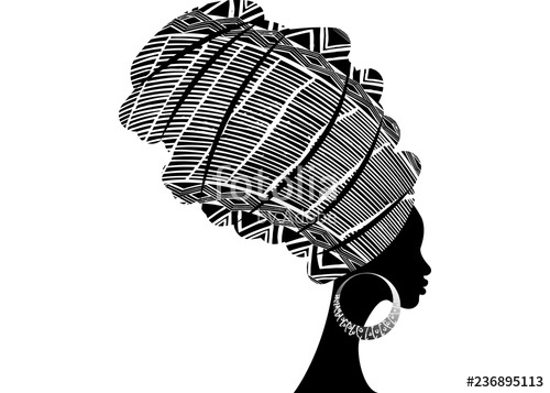 Clipart of an african woman wearing kentu cloth clipart freeuse download portrait beautiful African woman in traditional turban, Kente head ... clipart freeuse download