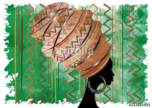Clipart of an african woman wearing kentu cloth clipart black and white portrait beautiful African woman in traditional turban, Kente head ... clipart black and white