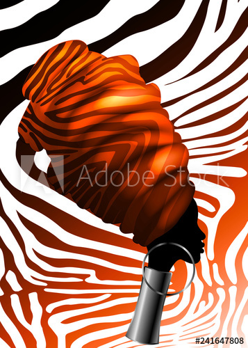Clipart of an african woman wearing kentu cloth png black and white Vector Portrait beautiful African woman in traditional turban, Kente ... png black and white