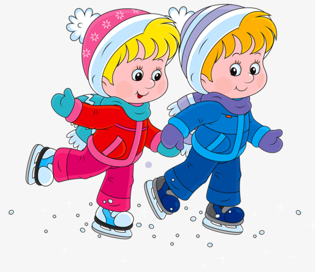 Clipart of an boy and girl ice skating