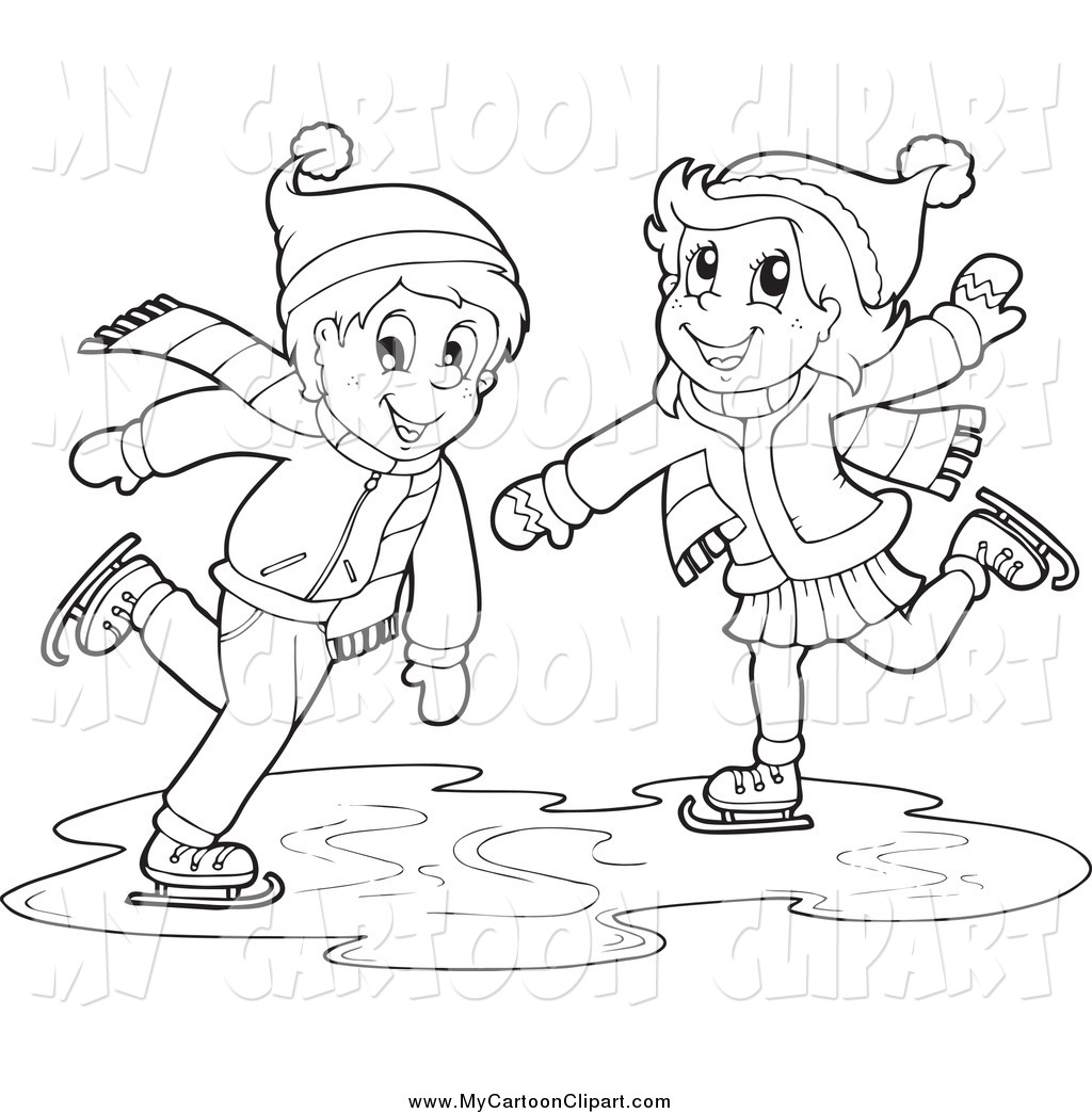 Clipart of an boy and girl ice skating clip black and white download Clip Art of a Black and White Boy and Girl Ice Skating by visekart ... clip black and white download