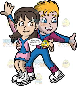 Clipart of an boy and girl ice skating image black and white download A Boy And Girl Doing A Competitive Ice Dance Routine image black and white download