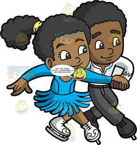 Clipart of an boy and girl ice skating png freeuse library A Cute Girl And Boy Ice Dancing png freeuse library