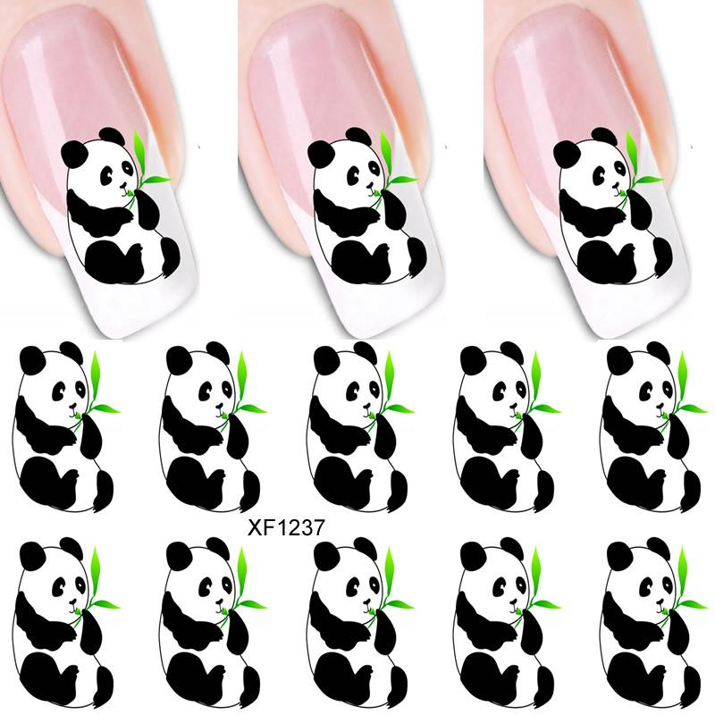 Clipart of animals with nail polish on image freeuse 1PCS 3D DIY Cartoon Panda Nail Art Stickers Water Transfer Decal Animals  Butterfly Pattern Tattoo Design Manicure Art Decoration image freeuse