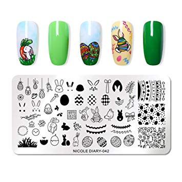 Clipart of animals with nail polish on picture library download NICOLE DIARY Nail Stamping Plates Rectangle Easter Day Animal Rabbit Nail  Stamp Image Plate 042 picture library download