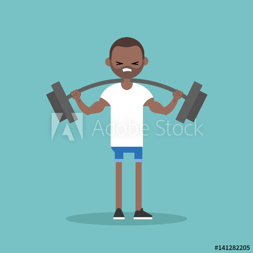 Clipart of animated black man working out png royalty free Young black man lifting a heavy weight barbell. Weightlifter holding ... png royalty free