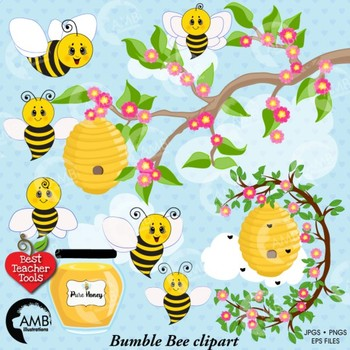 Clipart of bees honey clip Bumble Bee Clipart, Honey bees clipart, Bee Clipart, Busy Bee Clip Art,  AMB-1053 clip