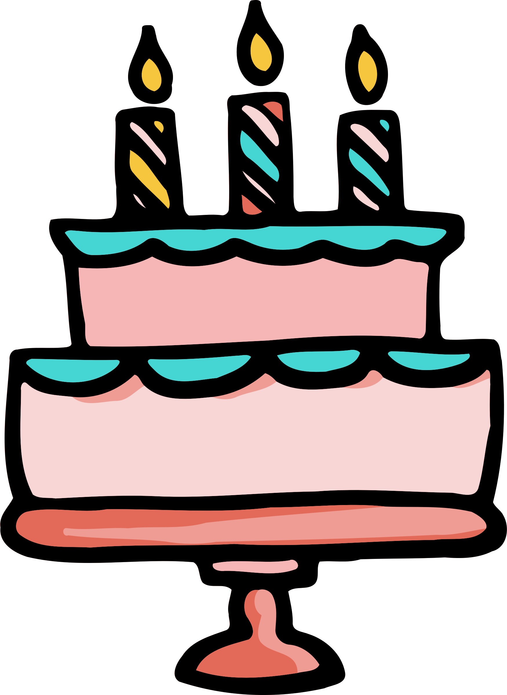 Clipart of birthday cake image black and white Clipart - Birthday cake 3 image black and white