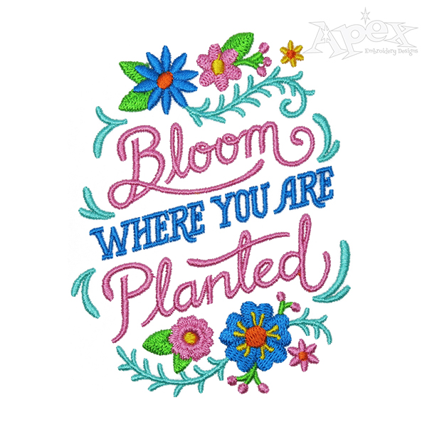 Clipart of bloom where you are planted clip art royalty free stock Bloom Where You Are Planted Embroidery Design clip art royalty free stock