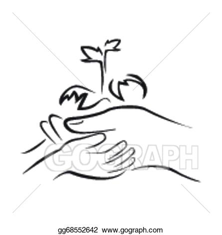 Clipart of both black hands holding a plants black and white library Vector Illustration - Hand holding green plant. EPS Clipart ... black and white library