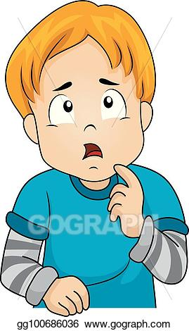 Clipart of boy thinking jpg download EPS Illustration - Kid boy thinking gesture. Vector Clipart ... jpg download