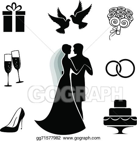 Clipart of bride dress for wine glasses svg freeuse Vector Stock - Wedding icon collection isolated on white. Clipart ... svg freeuse