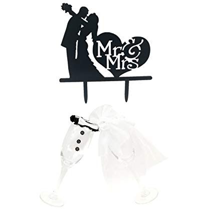Clipart of bride dress for wine glasses jpg Amazon.com: Kalevel Bride and Groom Wine Glass Charms Covers with ... jpg