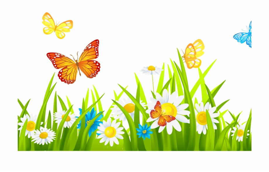 Free clipart of flowers and butterflies svg library download Grass Ground With Flowers And Butterflies Png Clipart - Flower And ... svg library download