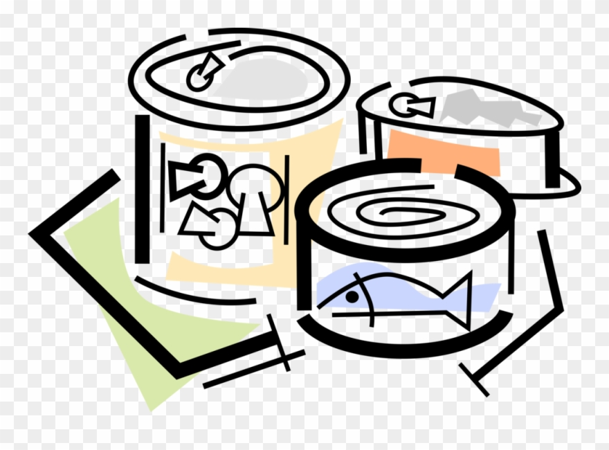 Fish canning companies in clipart vector black and white Vector Illustration Of Canned And Packaged Food Goods - Canned Food ... vector black and white