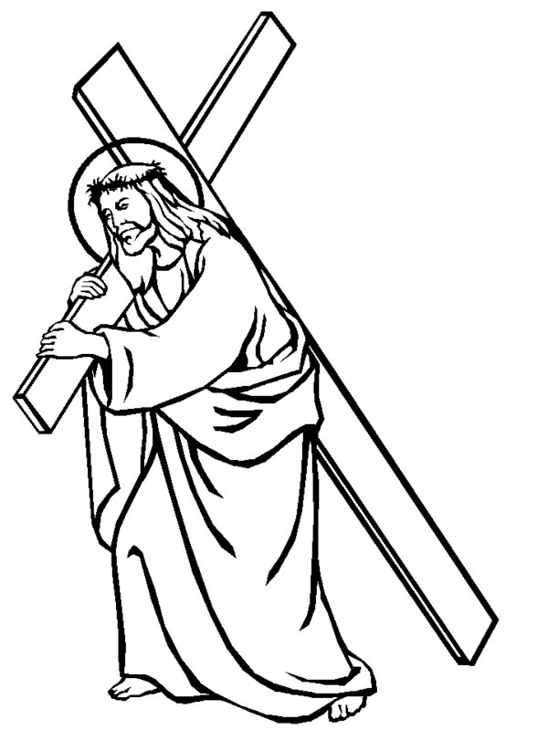 Clipart of carrying a cross black and white