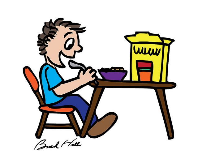 Clipart of child eating a bowl of cereal picture free library Copyright-free cartoon drawing of kid eating cereal   craft ideas ... picture free library