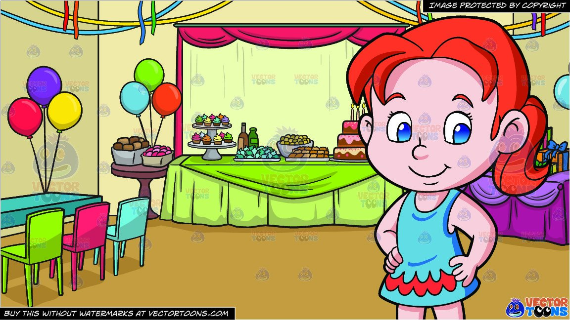 Clipart of children dressed in red and green clip library A Pretty Preschooler Girl In A Dress and A Birthday Party Background clip library