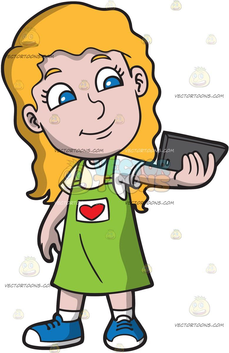 Clipart of children dressed in red and green image freeuse library A Pretty Girl Taking A Selfie: A girl with blonde hair wearing a ... image freeuse library
