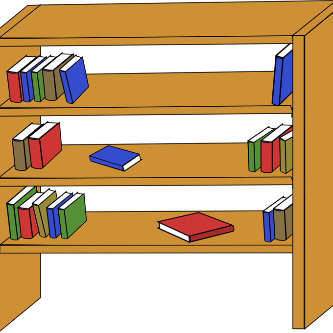 Clipart of children looking on a shelf for a book vector royalty free Bookshelf clipart organized bookshelf FREE for download on rpelm vector royalty free