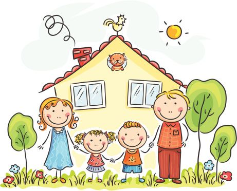 Family with 4 kids clipart all girls graphic library library Family house | cute clipart | Family drawing, Drawing for kids ... graphic library library