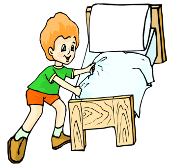 Clipart of children making marks on walls clipart free Child Making Bed Clipart | BangDodo clipart free